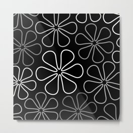 Abstract Flower Outlines Grays White Black Metal Print