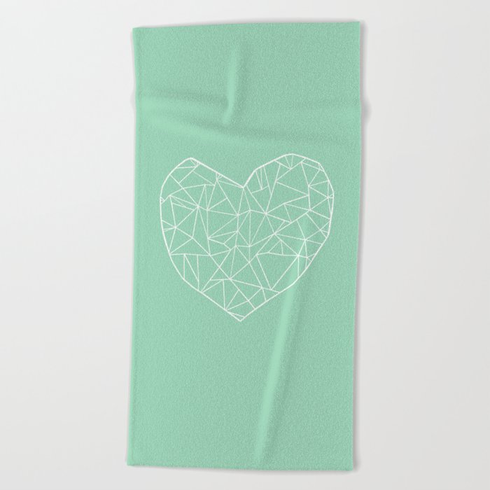Abstract Heart Mint Beach Towel