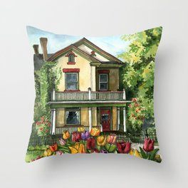 Farmhouse with Spring Tulips Throw Pillow