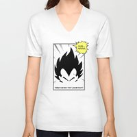 dragonball V-neck T-shirts featuring IT'S OVER 9000 (Dragonball, Vegeta)  by SOULTHROW