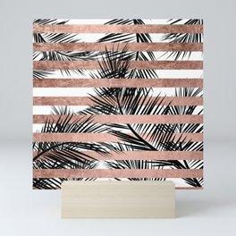 Trendy tropical palm trees chic rose gold stripes Mini Art Print