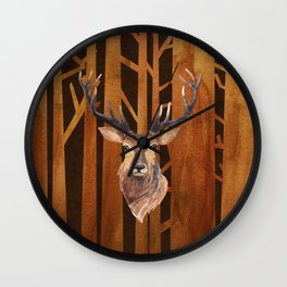 Proud deer in forest 1- Watercolor illustration Wall Clock
