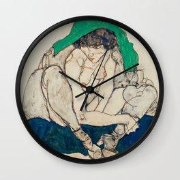 "Egon Schiele ""Crouching Woman with Green Headscarf"" Wall Clock"