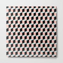 Geometric Pink and Green Pattern Metal Print