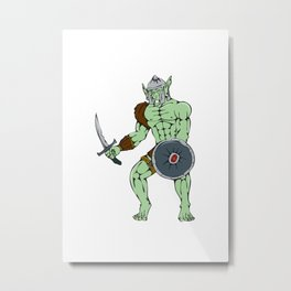 Orc Warrior Sword Shield Cartoon Metal Print
