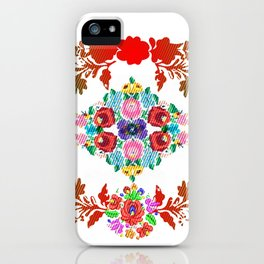 Hungarian 'matyo' folklore styled artwork iPhone Case