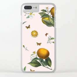 Oranges and Butterflies in Blush Clear iPhone Case