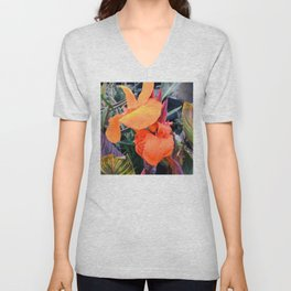 Tropical Island Flowers In Romantic Paradise Unisex V-Neck