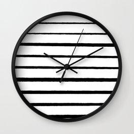 Black and White Rough Organic Stripes Wall Clock