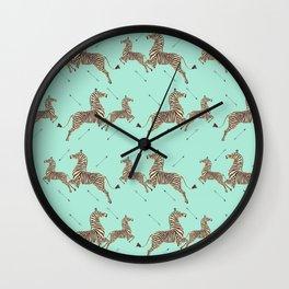 Royal Tenenbaums Zebra Wallpaper - Seafoam green Wall Clock