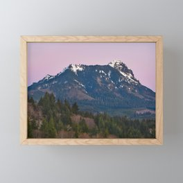 Snowy Saddle Mountain Snow Forest Pacific Northwest PNW Oregon Trees Landscape Purple Sunset Big SKy Framed Mini Art Print