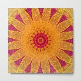 Fluorescent Lace Flower Mandala Metal Print