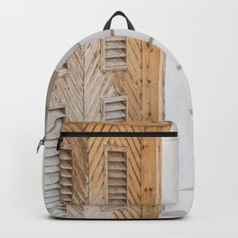 White House stairway and ancient wooden door Backpack