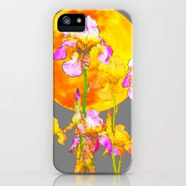 IRIS GARDEN & RISING GOLD MOON  IN GREY SKY iPhone Case