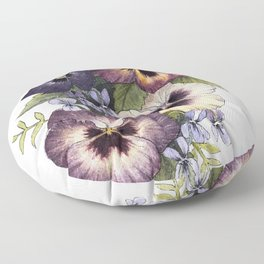 Watercolor Pansy Bouquet Floor Pillow