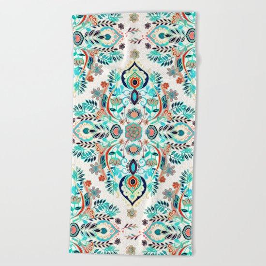 Modern Folk in Jewel Colors Beach Towel