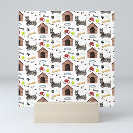 Scotish Terrier Dog Half Drop Repeat Pattern Mini Art Print