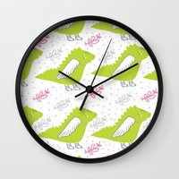 mother of dragons Wall Clocks featuring Dragons by LOLIA-LOVA