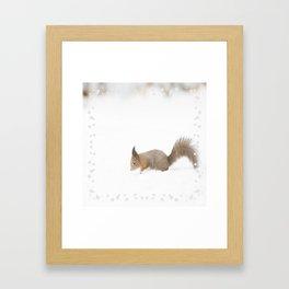 Little squirrel sitting in the snow #decor #society6 #buyart Framed Art Print