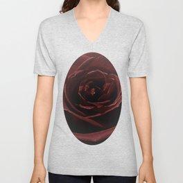 Textured Red Rose Unisex V-Neck