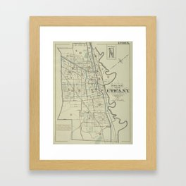 Vintage Map of Utica New York (1883) Framed Art Print