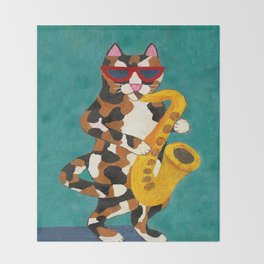 Calico Cat Saxophone Player Throw Blanket