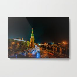 Moscow Kremlin Embankment At Night Metal Print