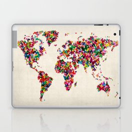 Butterflies Map of the World Map Laptop & iPad Skin