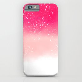 Modern hand painted neon pink pastel ombre watercolor splatters iPhone Case