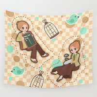bioshock Wall Tapestries featuring Bioshock Infinite - Luctece Twins by Choco-Minto