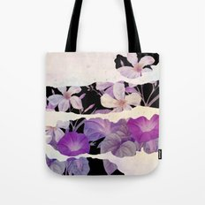 floral on torn paper Tote Bag