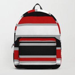 Modern Horizontal Stripes // Red, Gray, Black and White Backpack