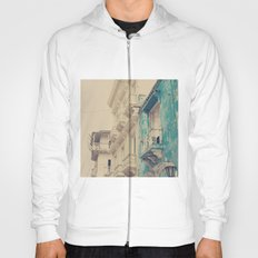 Grunge Summer Town (Retro and Vintage Urban, architecture photography, blue and cream) Hoody