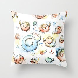 Elephants Pattern Watercolor Whimsical Animals Throw Pillow