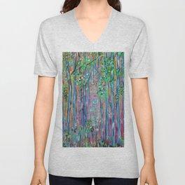Teal Blue Abstract Forest Landscape, Forest Secrets, Fantasy Fairy Art Unisex V-Neck