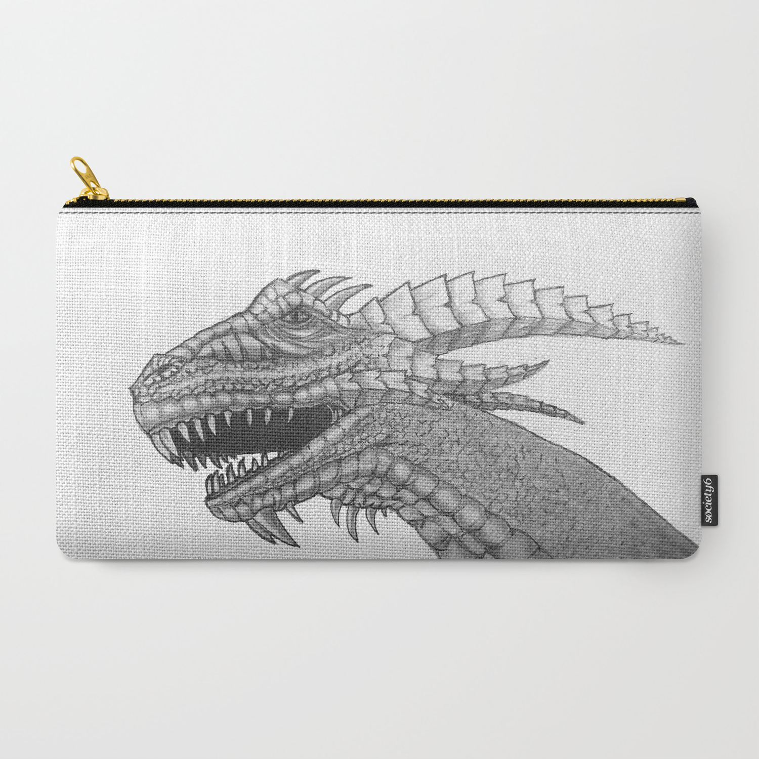 Dragon head pencil drawing black and white carry all pouch