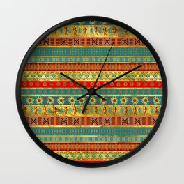 Colorful African Ethnic Tribal Pattern Wall Clock