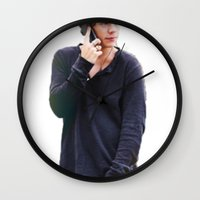 harry styles Wall Clocks featuring Harry Styles by Christa Morgan ☽