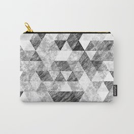 Triangles Grunge Pencil Geometric Black&White Grey Carry-All Pouch