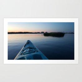 Kayak at Sunset Art Print