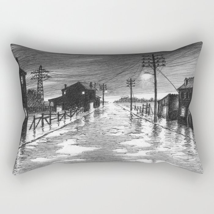 Rainy evening at the exit of the village Rectangular Pillow