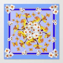 """Joy Of Spring"" Daffodils in Blue Shades Canvas Print"