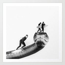 Snake Surfing Art Print