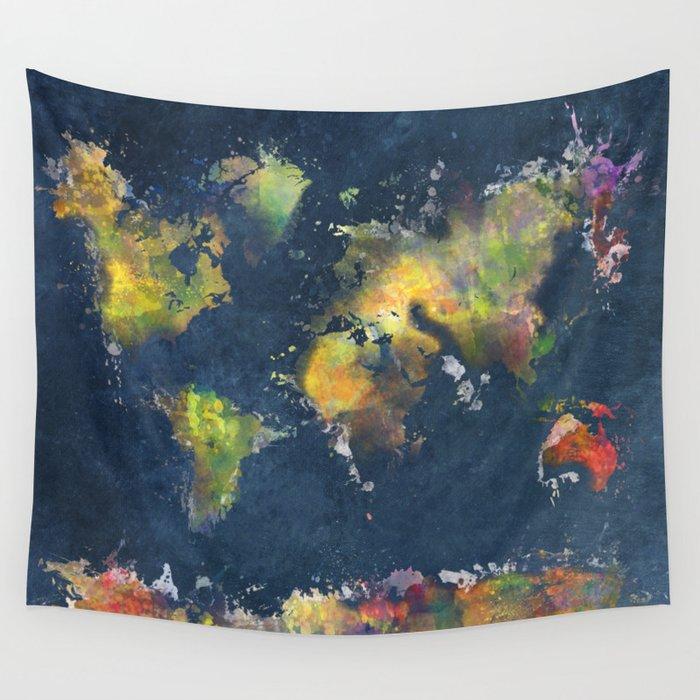 World map blue splash wall tapestry by jbjart society6 world map blue splash wall tapestry gumiabroncs Gallery