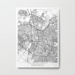 Santiago Map White Metal Print