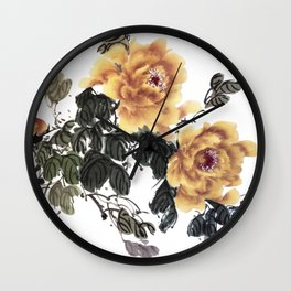 Yellow peonies sumie ink and watercolor painting Wall Clock