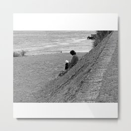 Woman Reading on Hill in France - Black and White Metal Print
