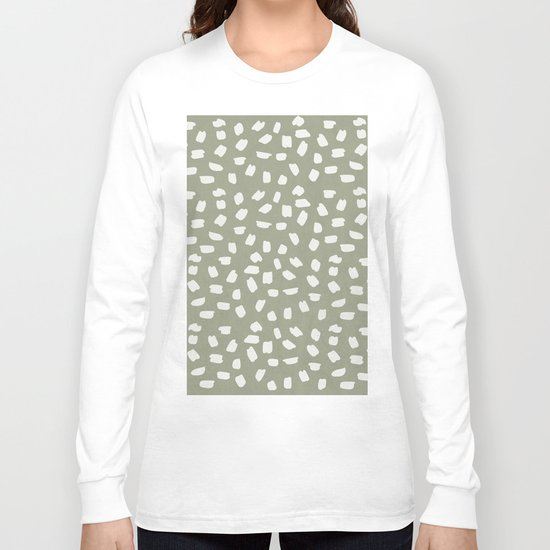 Simply Ink Splotch Lunar Gray on Green Tea Long Sleeve T-shirt