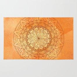 Watercolor Mandala Pattern Orange Rug