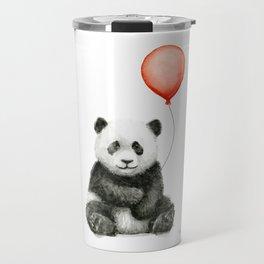 Baby Panda and Red Balloon Travel Mug